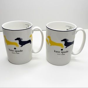 Kate Spade | Wickford Dachshund 2 Coffee Mugs NWT